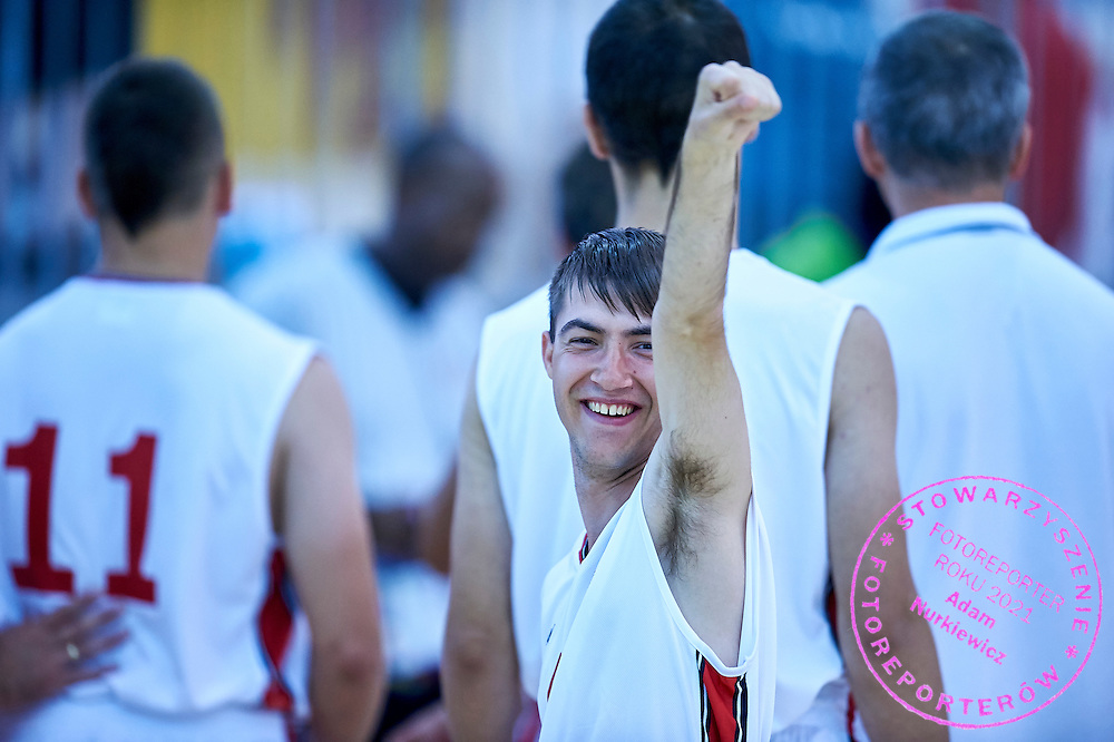 Andrzej Luczyniec SO Poland athlete in action while basketball match SO Poland v SO Canada during second day of the Special Olympics World Games Los Angeles 2015 on July 26, 2015 on Galen Center at University of Southern California in Los Angeles, USA.<br /> USA, Los Angeles, July 26, 2015<br /> <br /> Picture also available in RAW (NEF) or TIFF format on special request.<br /> <br /> For editorial use only. Any commercial or promotional use requires permission.<br /> <br /> Adam Nurkiewicz declares that he has no rights to the image of people at the photographs of his authorship.<br /> <br /> Mandatory credit:<br /> Photo by &copy; Adam Nurkiewicz / Mediasport