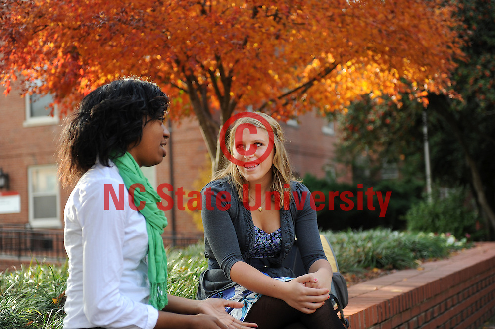 Students stop to chat near the Free Expression Tunnel and the wolf statues on the NCSU campus.