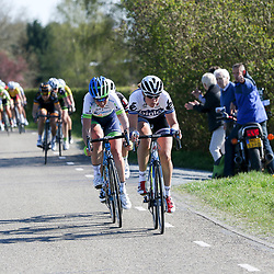 19-04-2015: Wielrennen: Ronde van Gelderland vrouwen: Apeldoorn  <br /> APELDOORN (NED) wielrennen De vijftigste ronde van Apeldoorn werd verreden onder te mooie weersomstandigheden. In het Ordenbos eindigde de wedstrijd in een massasprint.<br /> Vera Koedooder zeer actief in de koiers