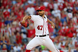 October 7, 2017 - Washington, DC, USA - Washington Nationals starting pitcher Gio Gonzalez delivers in the first inning against the Chicago Cubs in Game 2 of the National League Division Series at Nationals Park in Washington, D.C., on Saturday, Oct. 7, 2017. (Credit Image: © Brian Cassella/TNS via ZUMA Wire)