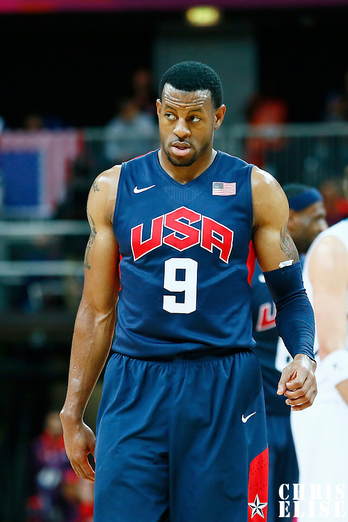 06 August 2012: USA Andre Iguodala is seen during 126-97 Team USA victory over Team Argentina, during the men's basketball preliminary, at the Basketball Arena, in London, Great Britain.