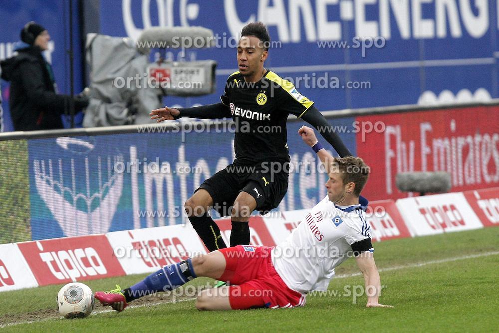 22.02.2014, Imtech Arena, Hamburg, GER, 1. FBL, Hamburger SV vs Borussia Dortmund, 22. Runde, im Bild Slobodan Rajkovic (HSV) gegen Pierre-Emerick Aubameyang (BVB) // during the German Bundesliga 22th round match between Hamburger SV and Borussia Dortmund at the Imtech Arena in Hamburg, Germany on 2014/02/23. EXPA Pictures &copy; 2014, PhotoCredit: EXPA/ Eibner-Pressefoto/ Latendorf<br /> <br /> *****ATTENTION - OUT of GER*****
