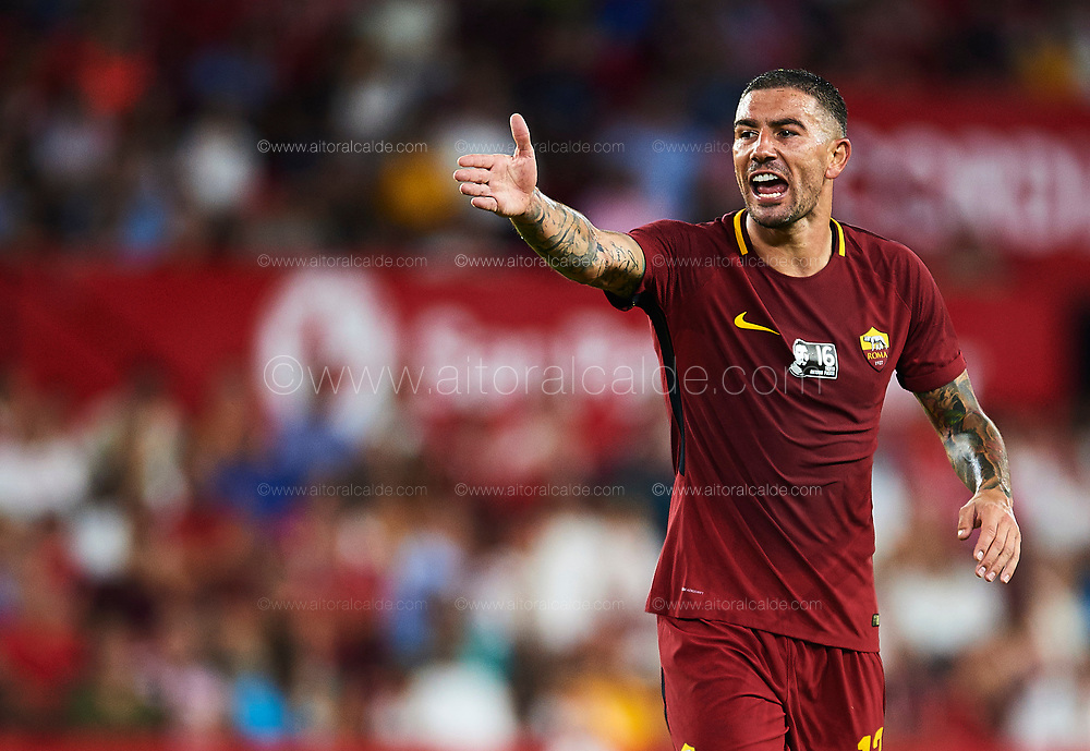 SEVILLE, SPAIN - AUGUST 10:  Aleksandar Kolarov of AS Roma  reacts during a Pre Season Friendly match between Sevilla FC and AS Roma at Estadio Ramon Sanchez Pizjuan on August 10, 2017 in Seville, Spain. (Photo by Aitor Alcalde/Getty Images)