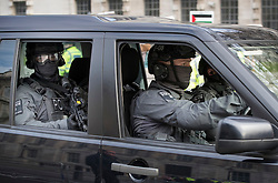 © Licensed to London News Pictures. 06/02/2017. London, UK. Armed counter terrorism police are seen outside Downing Street as Israeli Prime Minister Benjamin Netanyahu meets with British Prime Minister Theresa May. Photo credit: Peter Macdiarmid/LNP