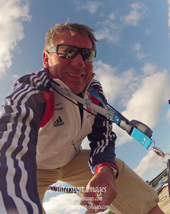 Munich, GERMANY,    General Views, GV's,  of the Boathouse and  Boating Area, GBR M4-. coach Jurgen GROBLER,   2012 World Cup III on the Munich Olympic Rowing Course,  Thursday  14/06/2012  [Mandatory Credit Peter Spurrier/ Intersport Images]..