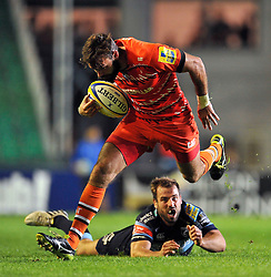 Niall Morris (Leicester) takes on the Cardiff Blues defence - Photo mandatory by-line: Patrick Khachfe/JMP - Mobile: 07966 386802 29/08/2014 - SPORT - RUGBY UNION - Leicester - Welford Road - Leicester Tigers v Cardiff Blues - Pre-Season Friendly
