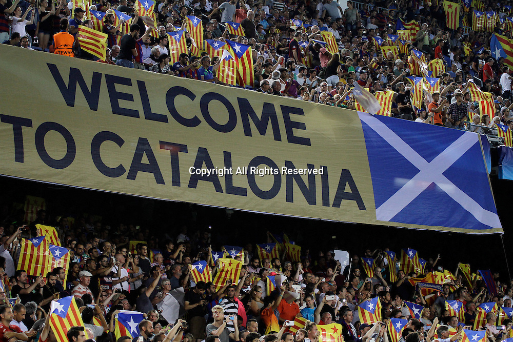 13.09.2016. Nou Camp, Barcelona, Spain. UEFA Champions League Football. Barcelona versus Celtic. Catalonia welcomes Scotland, banner
