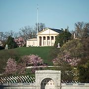 Robert E. Lee House stands on a hill overlooking Arlington National Cemetery, Arlington Virginia.