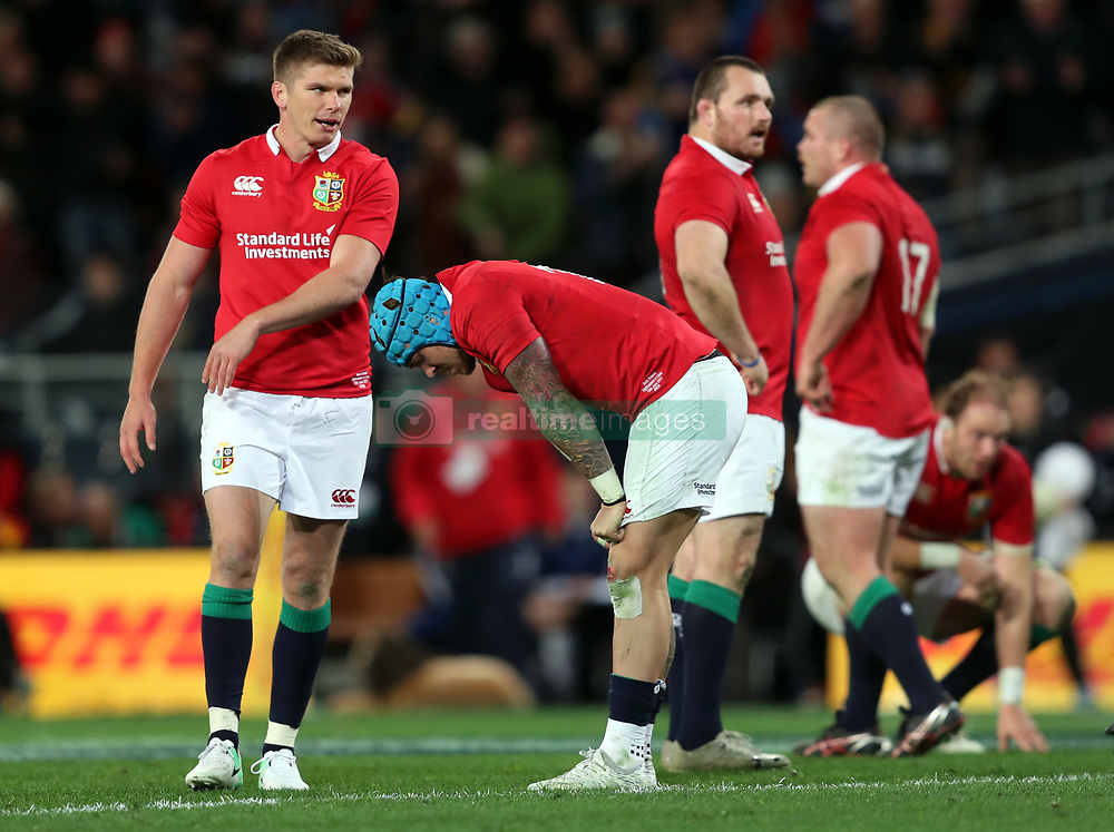 British and Irish Lions' Owen Farrell (left) and Jack Nowell appear dejected during the tour match at Forsyth Barr Stadium, Dunedin.