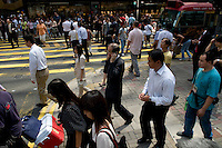 Lunch time in Central near Queen's road and d'Aguilar, Hong Kong.