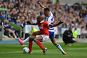 Charlton Athletic defender Zakarya Bergdich holds off Reading's Nick Blackman during the Sky Bet Championship match between Reading and Charlton Athletic at the Madejski Stadium, Reading, England on 17 October 2015. Photo by Mark Davies.
