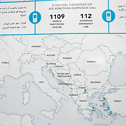 Greece with Doctors of the World (Medecins du monde). Idomeni, border crossing Greece and Macedonia (Fyrom). Refugees come on buses from Athens (costs 20 euros). UNHCR map of Southern Europe.
