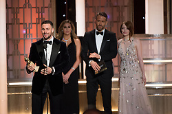 """Jan 8, 2017 - Beverly Hills, California, U.S - AARON TAYLOR-JOHNSON accepts the Golden Globe Award for BEST PERFORMANCE BY AN ACTOR IN A SUPPORTING ROLE IN A MOTION PICTURE for his role in """"Nocturnal Animals"""" at the 74th Annual Golden Globe Awards at the Beverly Hilton in Beverly Hills, CA on Sunday, January 8, 2017. (Credit Image: ? HFPA/ZUMAPRESS.com)"""