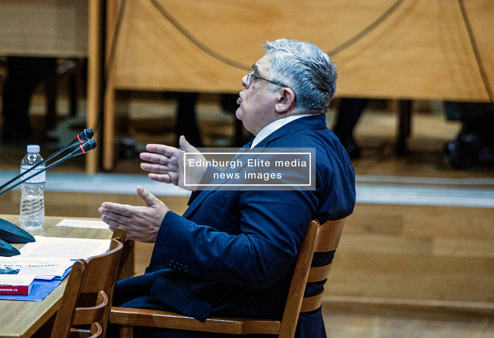 Former MP and leader of Golden Dawn party, Nikolaos Michaloliakos, gestures as he testifies before a criminal appeal court in Athens, on November 6, 2019, as part of a landmark murder trial implicating Golden Dawn <br /> <br /> Pictured: <br /> Dimitris Lampropoulos  | EEm date