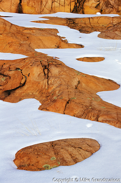 Animal tracks in snow at spring thaw.<br /> Killarney Provincial Park<br /> Ontario<br /> Canada