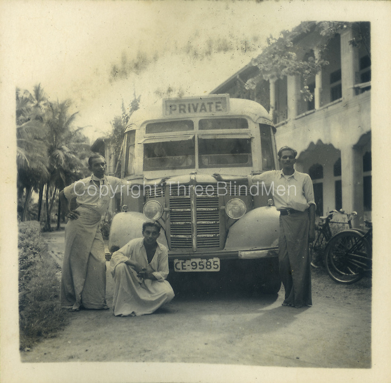 from the Tony Peries Collection. Possibly Kurunegala. 1947 Bus for a St. Joseph's College trip.