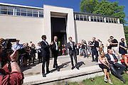 56th Art Biennale in Venice - All The World's Futures.<br /> Giardini.<br /> Austrian pavilion. Opening.<br /> From r.: Josef Ostermayer, Austrian Minister for Arts and Culture, Heimo Sobering, artist; Yilmaz Dziewior, Commissioner.