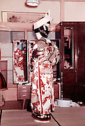 bride at home dressing up for the wedding Japan 1950s