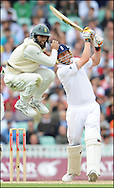 Andrew Flintoff smashes a six to win the test for England as Hashim Amla jumps on the final day day of the fourth Test at the Oval on the 11th of August 2008..England v South Africa.Photo by Philip Brown.www.philipbrownphotos.com