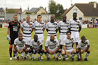 FOOTBALL - FRIENDLY GAMES 2010/2011 - SM CAEN v STADE RENNAIS - 31/07/2010 - PHOTO JEAN MARIE HERVIO / DPPI - TEAM RENNES (BACK ROW LEFT TO RIGHT: NICOLAS DOUCHEZ / JEROME LEROY / ROMAIN DANZE / KEVIN THEOPHILE CATHERINE / ROD FANNI / KADER MANGANE. FRONT ROW: SYLVAIN MARVEAUX / ISMAEL BANGOURA / STEPHANE DALMAT / FABIEN LEMOINE / YACINE BRAHIMI )