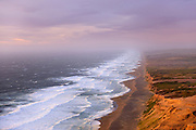 Sunset on the 11 mile long point Reyes Beach in the Point Reyes National Seashore 50 miles north of San Francisco, California.