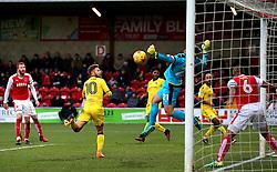 Matt Taylor of Bristol Rovers forces a save from Alex Cairns of Fleetwood Town - Mandatory by-line: Matt McNulty/JMP - 14/01/2017 - FOOTBALL - Highbury Stadium - Fleetwood, England - Fleetwood Town v Bristol Rovers - Sky Bet League One