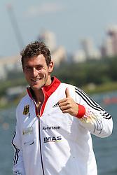 09.08.2014, Krylatskoe, Moskau, RUS, ICF, Kanu WM 2014, Moskau, im Bild Sebastian Brendel (Potsdam) wird in Moskau zum ersten Mal Weltmeister im CI über 1.000m, hier nach dem Finale // during the ICF Canoe Sprint World Сhampionships 2014 at the Krylatskoe in Moskau, Russia on 2014/08/09. EXPA Pictures © 2014, PhotoCredit: EXPA/ Eibner-Pressefoto/ Freise<br /> <br /> *****ATTENTION - OUT of GER*****