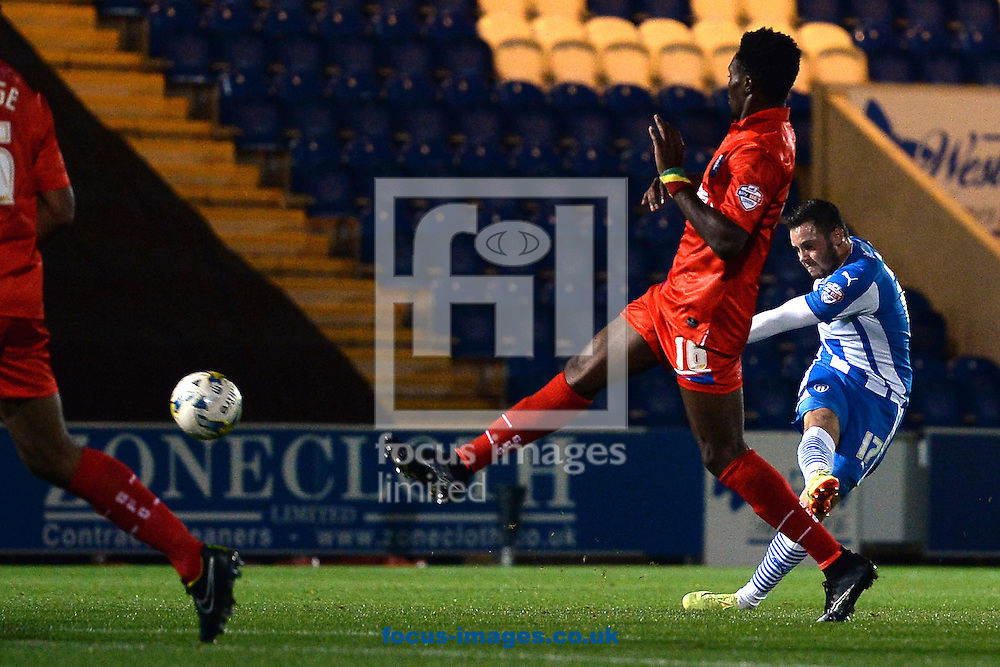 Drey Wright of Colchester United scores a goal to make the scoreline 1-0 during the Johnstone's Paint Trophy match between Colchester United and Gillingham at the Weston Homes Community Stadium, Colchester<br /> Picture by Richard Blaxall/Focus Images Ltd +44 7853 364624<br /> 07/10/2014