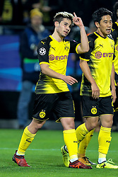 DORTMUND, Nov. 02, 2017  Raphael Guerreiro (L) of Borussia Dortmund celebrates scoring during the UEFA Champions League Group H soccer match between Borussia Dortmund and APOEL Nicosia in Dortmund, Germany on Nov. 1, 2017. The match ended with a 1-1 tie. (Credit Image: © Joachim Bywaletz/Xinhua via ZUMA Wire)
