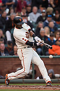 San Francisco Giants shortstop Eduardo Nunez (10) makes contact during an at-bat against the New York Mets at AT&T Park in San Francisco, Calif., on August 21, 2016. (Stan Olszewski/Special to S.F. Examiner)