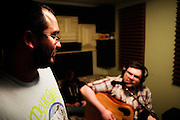 Harmonically sound indie kids Dots Not Feathers recording a new track at Saint Louis studio R&R Music Labs. I had some vegan coffee cake and it was really, really good.
