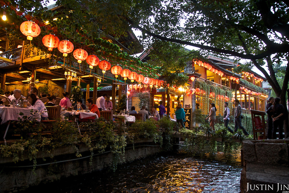 A restaurant along a stream at the ancient Lijiang town in Yunnan province, southwestern China.