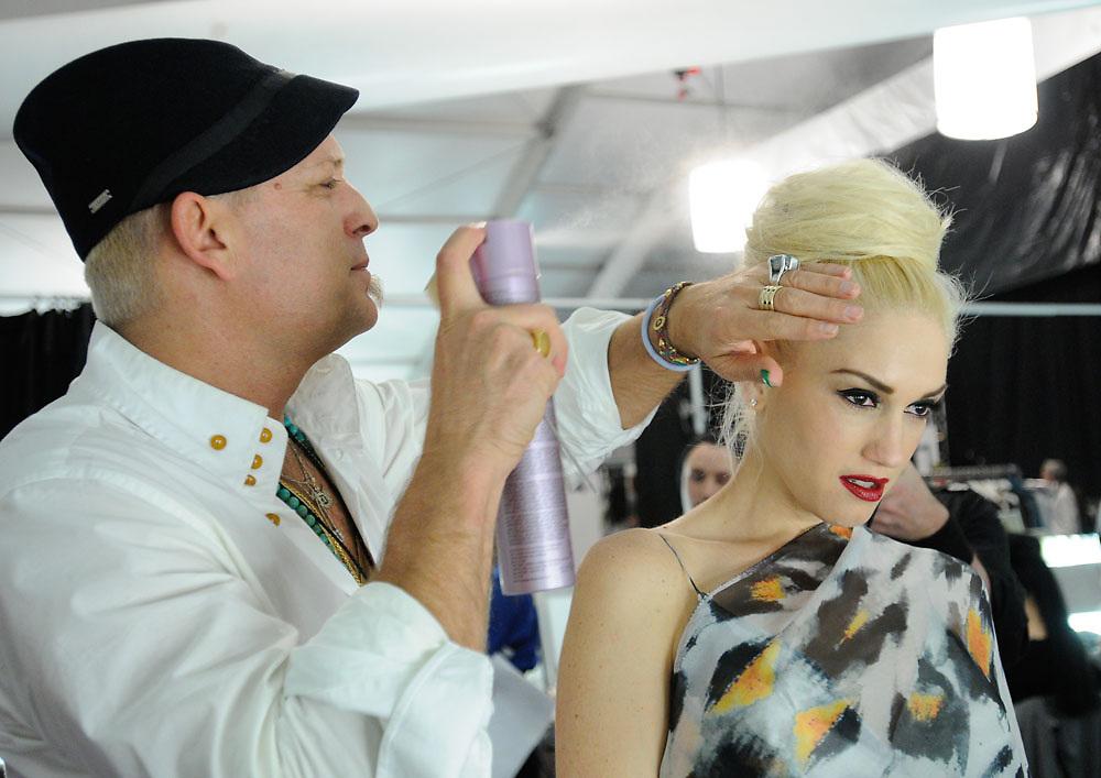 Recording artist/designer Gwen Stefani photographed backstage during Mercedes Benz Fashion Week