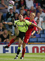 Photo: Lee Earle.<br /> Crystal Palace v Sheffield United. Coca Cola Championship. 22/09/2007. United's Mark Hudson (L) battles with Jonathan Stead.