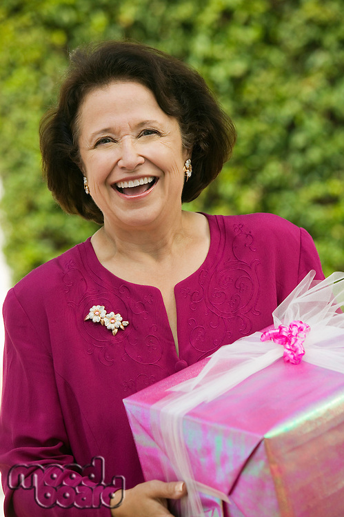 Senior Woman with Gift