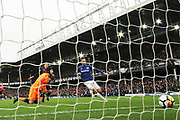 Arsenal goalkeeper Petr Cech (33) looks on in despair as Everton striker Wayne Rooney (10) opens the scoring with his goal 1-0 during the Premier League match between Everton and Arsenal at Goodison Park, Liverpool, England on 22 October 2017. Photo by Craig Galloway.