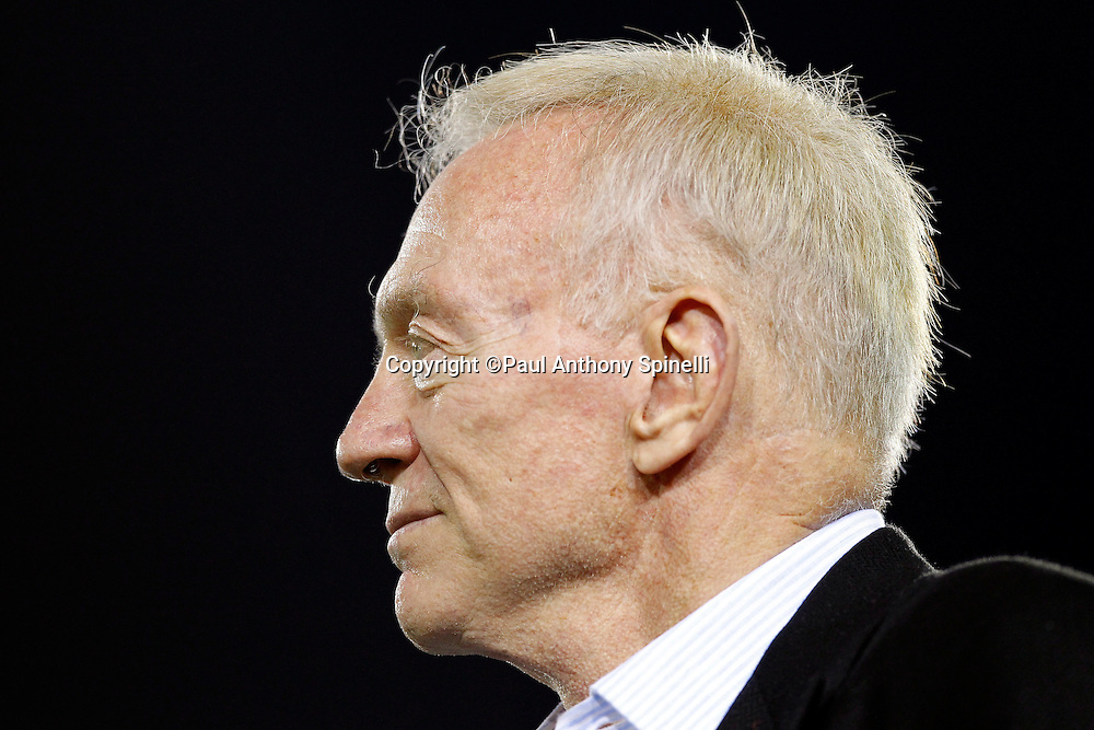 Dallas Cowboys Owner, President, and General Manager Jerry Jones looks on during the NFL Pro Football Hall of Fame preseason football game between the Dallas Cowboys and the Cincinnati Bengals on Sunday, August 8, 2010 in Canton, Ohio. The Cowboys won the game 16-7. (©Paul Anthony Spinelli)