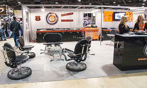 Furniture Made From Motorcycle Parts In Use At The Harley Davidson  Insurance Booth At The International.