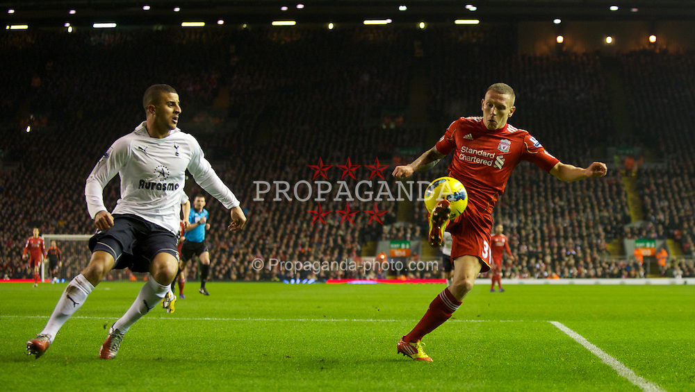 LIVERPOOL, ENGLAND - Monday, February 6, 2012: Liverpool's Craig Bellamy in action against Tottenham Hotspur during the Premiership match at Anfield. (Pic by David Rawcliffe/Propaganda)