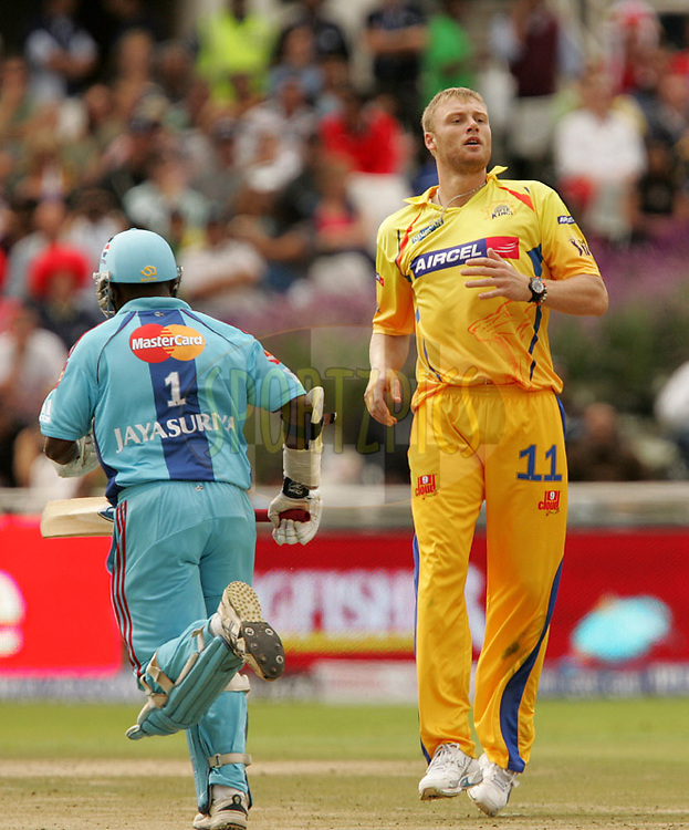 CAPE TOWN, SOUTH AFRICA - 18 April 2009.  Andrew Flintoff during the opening match of the inaugural double header of the (Indian Premier League)  IPL Season 2 between The Mumbai Indians and The Chennai Superkings held at Sahara Park Newlands in Cape Town, South Africa..