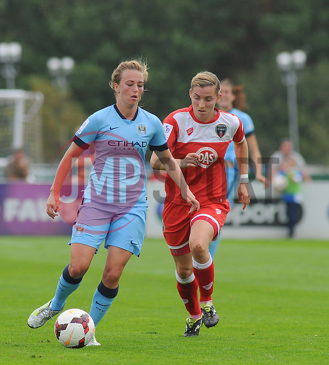 Bristol Academy Womens' Grace McCatty challenges for ball possession.- Photo mandatory by-line: Nizaam Jones- Mobile: 07583 387221 - 28/09/2014 - SPORT - Women's Football - Bristol - SGS Wise Campus - BAWFC v Man City Ladies - sport