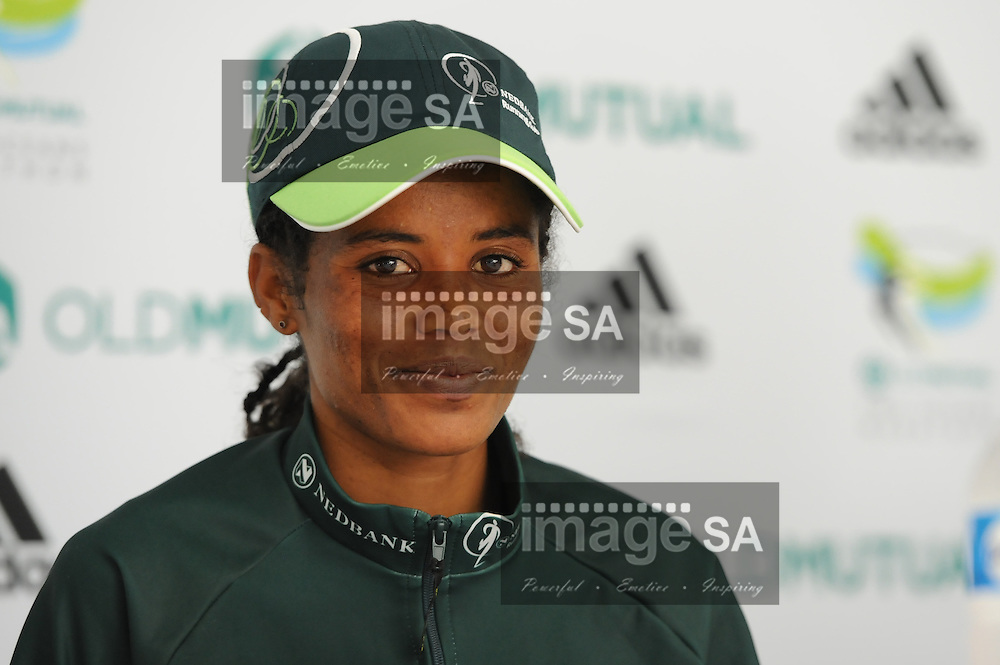 CAPE TOWN, South Africa - Saturday 30 March 2013, 1st place Biru Meseret Mengistu at the press conference during the half marathon of the Old Mutual Two Oceans Marathon. .Photo by Roger Sedres/ ImageSA