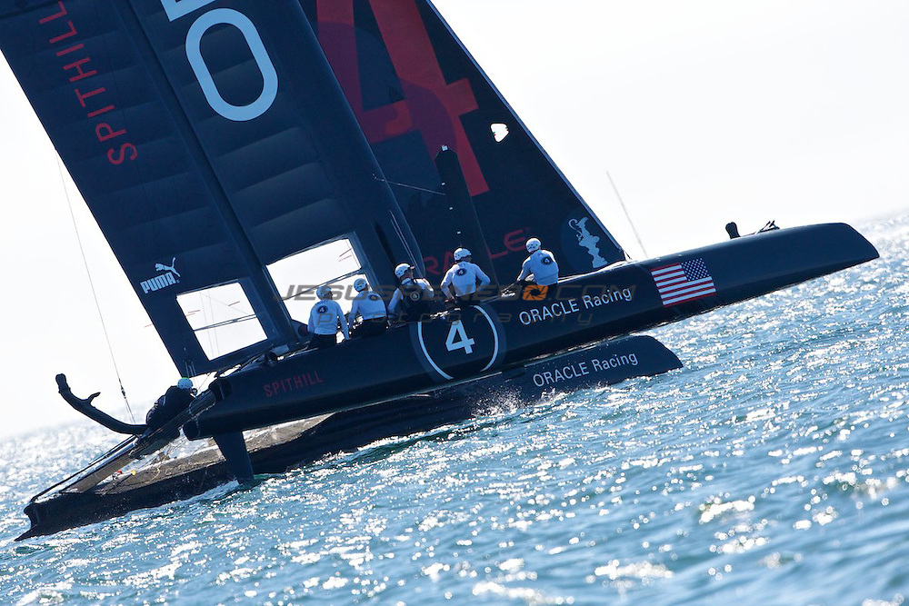 AC World Series,Cascais,Portugal.Match race final, winner Oracle Racing 4, James Spithill.Oracle Racing 4 winning his semifinals match againts Artemis.