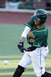 08 July 2017: Diego Cedeno during a Frontier League Baseball game between the Traverse City Beach Bums and the Normal CornBelters at Corn Crib Stadium on the campus of Heartland Community College in Normal Illinois