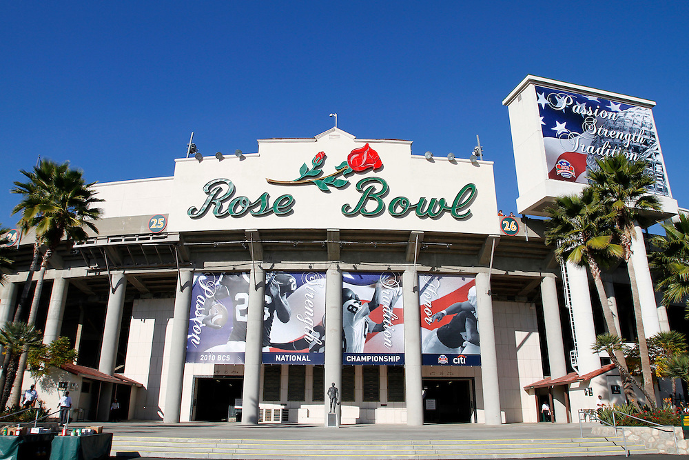 View of the Rose Bowl  prior to the 2010 BCS National Championship Game held at the Rose Bowl in Pasadena, CA.