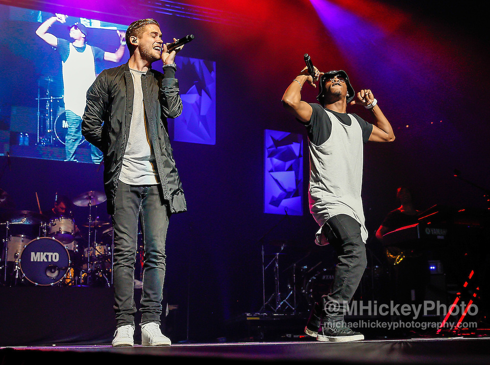 INDIANAPOLIS, IN - JUN 19: Tony Oller and Malcolm Kelley of MKTO performs at the WZPL Birthday Bash on June 19, 2015 in Indianapolis, Indiana. (Photo by Michael Hickey/Getty Images) *** Local Caption *** Tony Oller; Malcolm Kelley