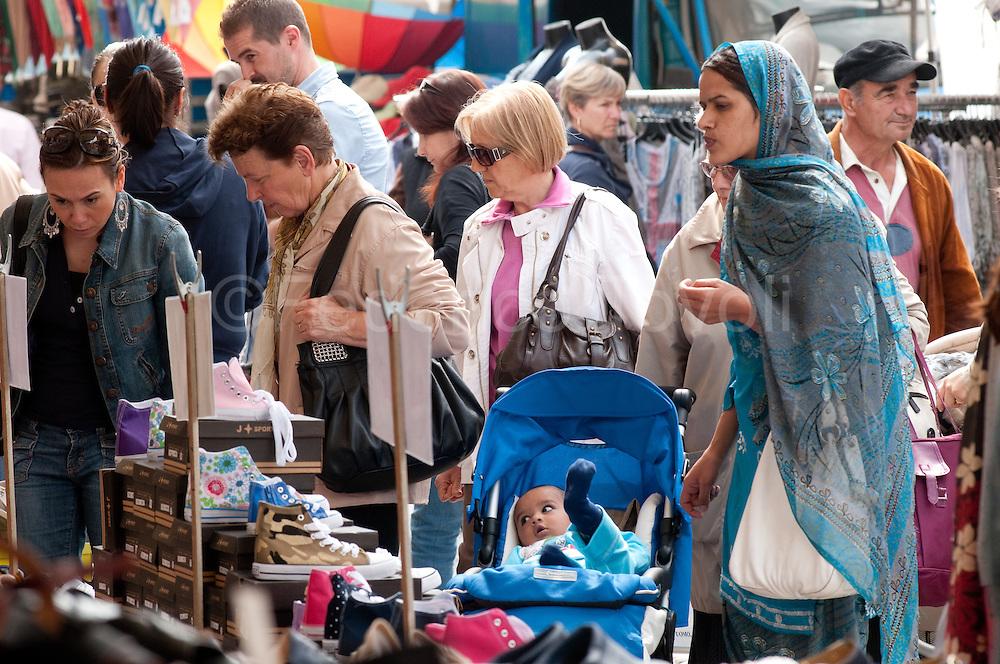 Novellara weekly market on the main square.
