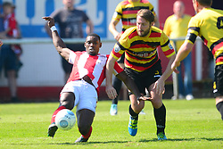 LEE NDLOVU BRACKLEY TOWN BATTLES WITH BRADFORDS ROB ATKINSONBrackley Town v Bradford Park Avenue Vanarama National League North Play Off Semi Final, St James Park, Sunday 6th May 2018, Score Brackley 1-0 (Williams)