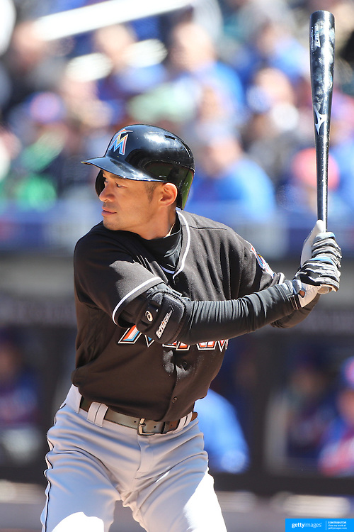 NEW YORK, NEW YORK - APRIL 13: Ichiro Suzuki, Miami Marlins, batting during the Miami Marlins Vs New York Mets MLB regular season ball game at Citi Field on April 13, 2016 in New York City. (Photo by Tim Clayton/Corbis via Getty Images)