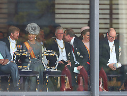 King Willem-Alexander of The Netherlands and Queen Maxima of The Netherlands, King Philippe of Belgium, Queen Mathilde, Prince Albert of Monaco and Henri, Grand Duke of Luxembourg attend the Enthronement Ceremony of Emperor Naruhito at the Imperial Palace in Tokyo, Japan on October 22, 2019. Photo by Robin Utrecht/ABACAPRESS.COM